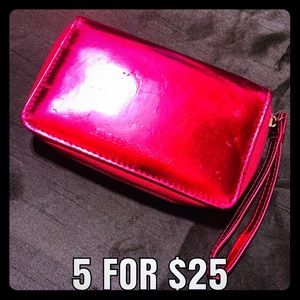 Victorias Secret PINK metallic Patent Pink Clutch